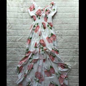 Floral ruffle hi- low dress